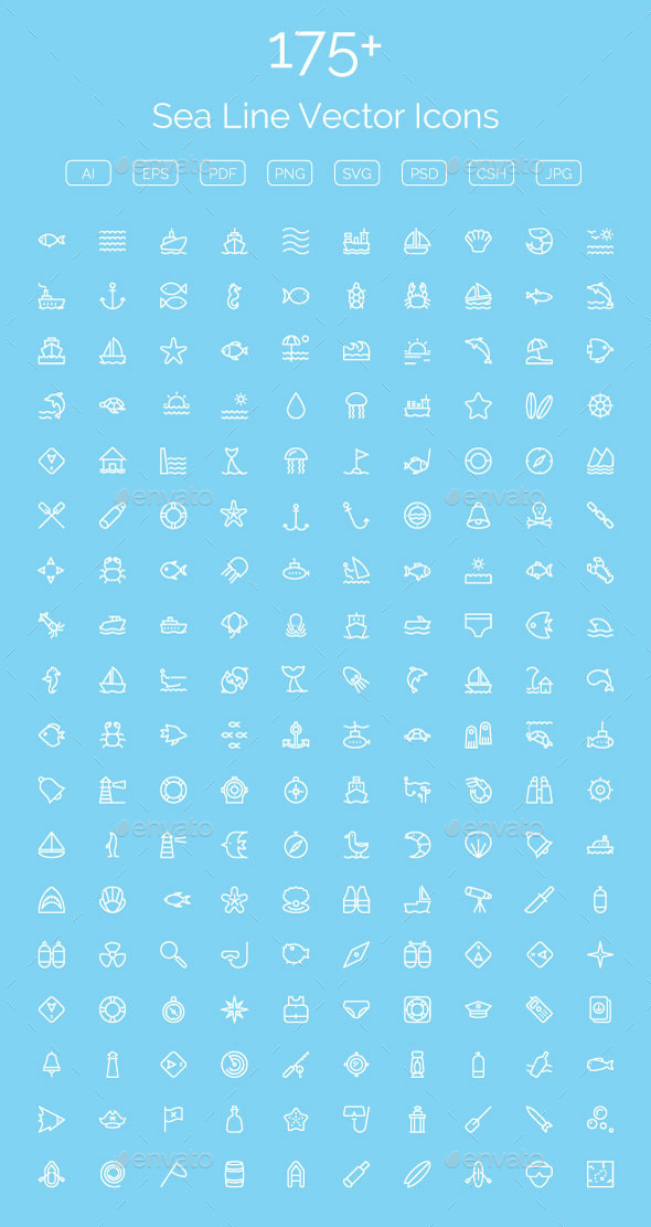 GraphicRiver 175& Sea Line Vector Icons 11608267