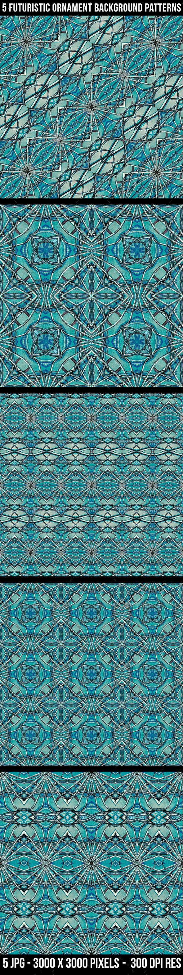 GraphicRiver 5 Futuristic Ornament Patterns 11608386