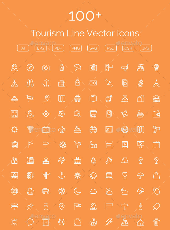 GraphicRiver 100& Tourism Line Vector Icons 11608385