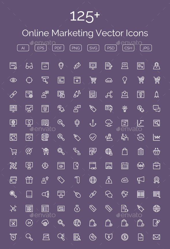 GraphicRiver 125& Online Marketing Vector Icons 11608447