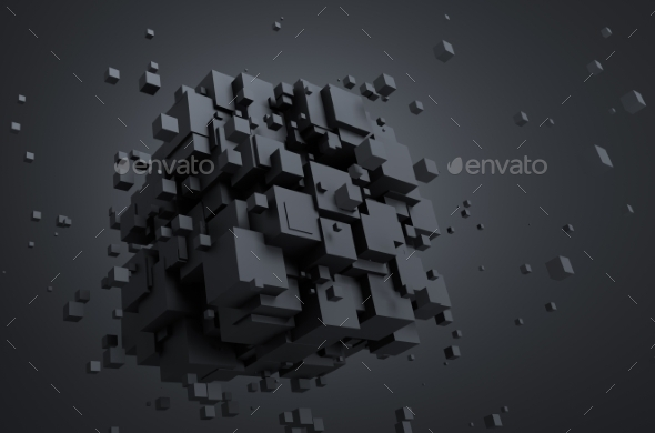 GraphicRiver Abstract 3D Rendering Of Flying Cubes 11608661