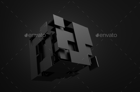 GraphicRiver Abstract 3D Rendering Of Flying Cube 11608715