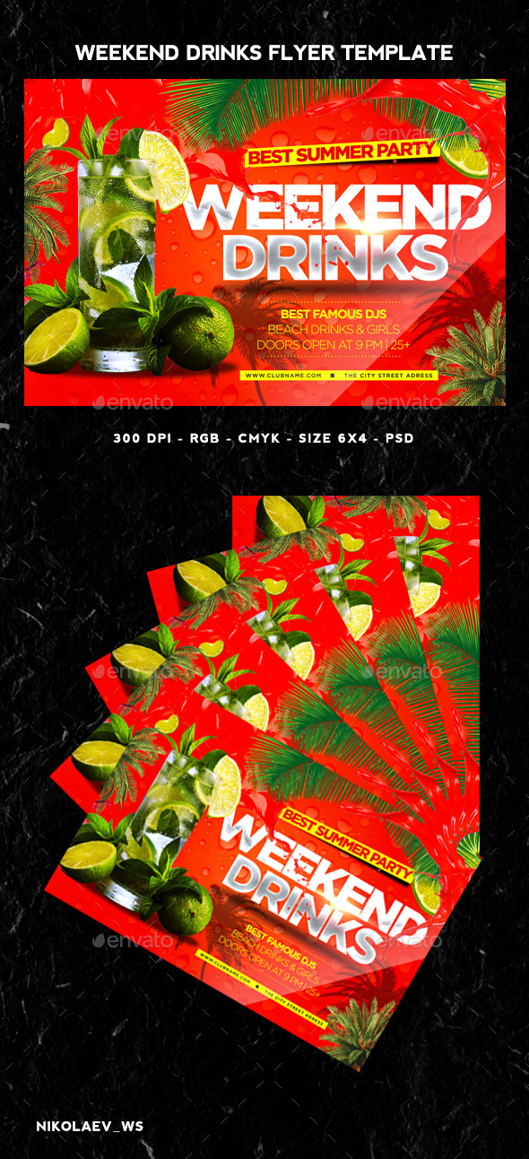 GraphicRiver Weekend Drinks Flyer 11609068