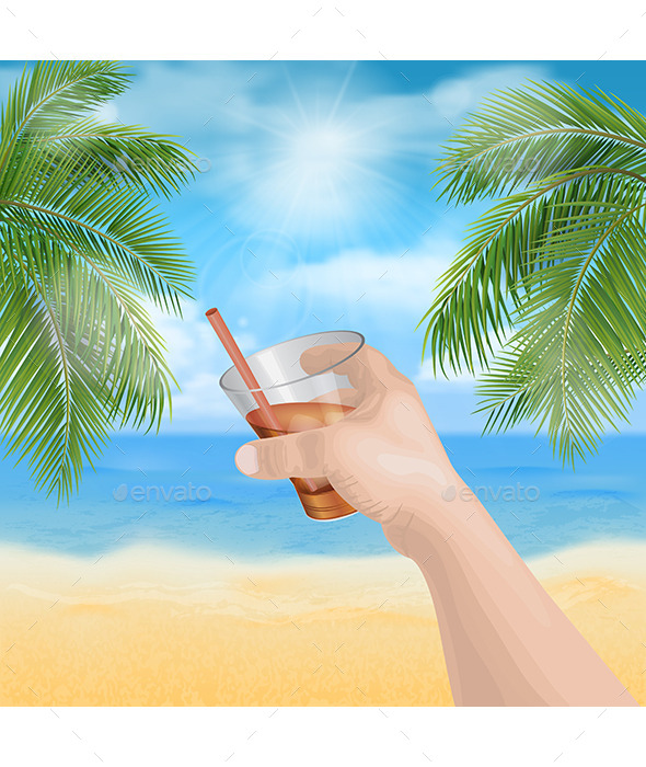 GraphicRiver Man s Hand Holding a Glass on the Beach 11609542