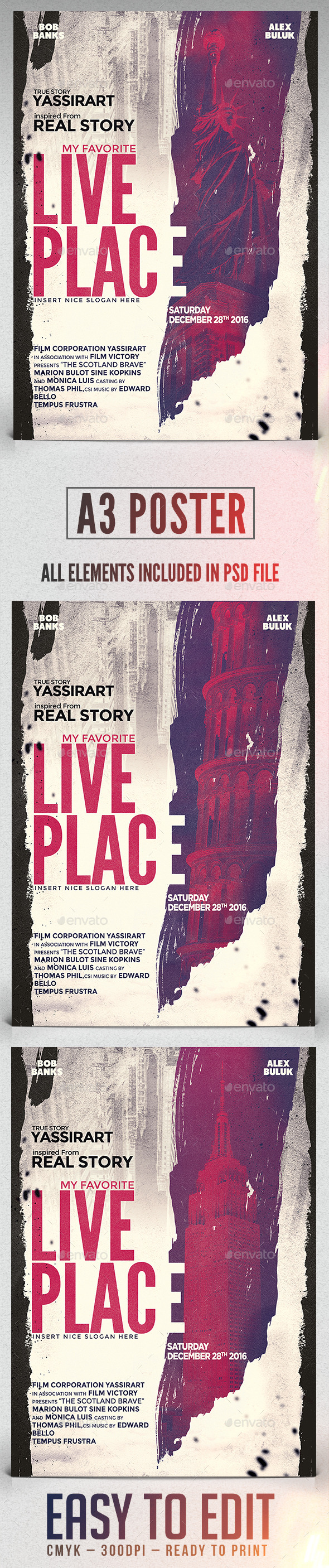 GraphicRiver A3 Live Place Poster Film Template 11610801