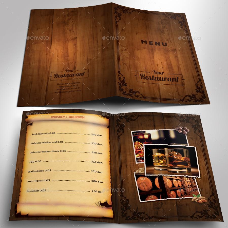 wooden style restaurant menu psd template by kirilmarin