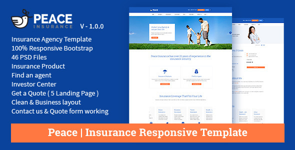 ThemeForest Peace Insurance Responsive HTML Template 11509477