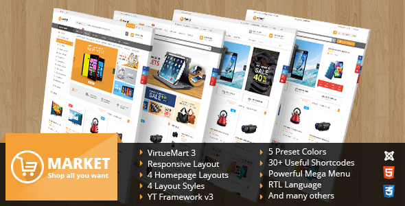 ThemeForest SJ Market Responsive Multipurpose VirtueMart Theme 11610917
