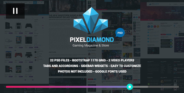 Pixel Diamond PSD Gaming Magazine + Store (Creative) Download