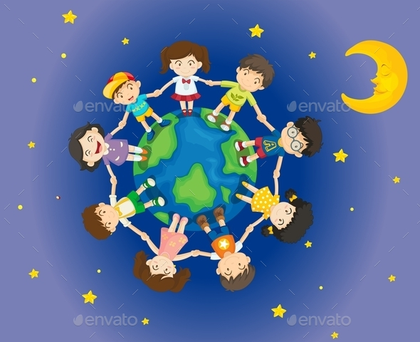 GraphicRiver Kids Surrounding the Earth 11611075