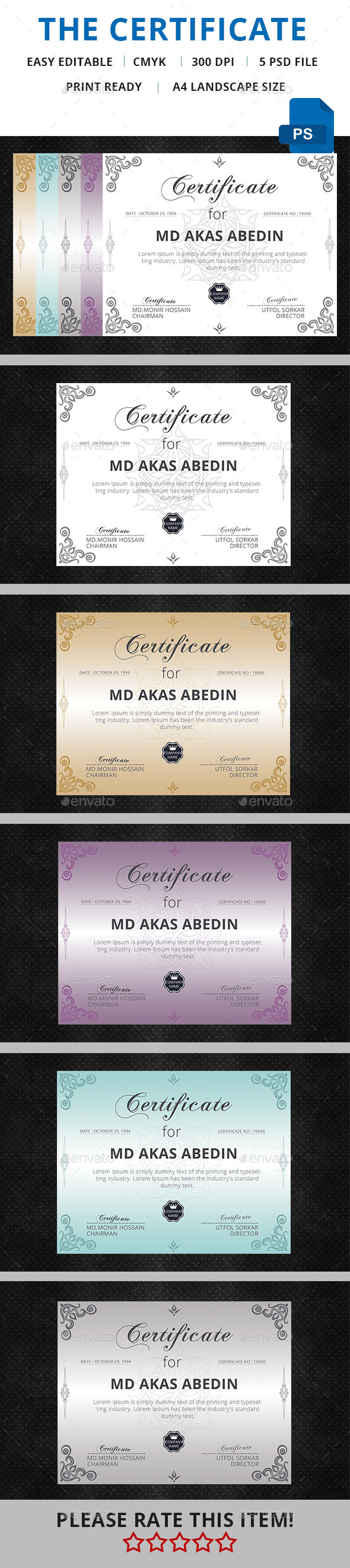 GraphicRiver CERTIFICATE TEMPLATE 11611774