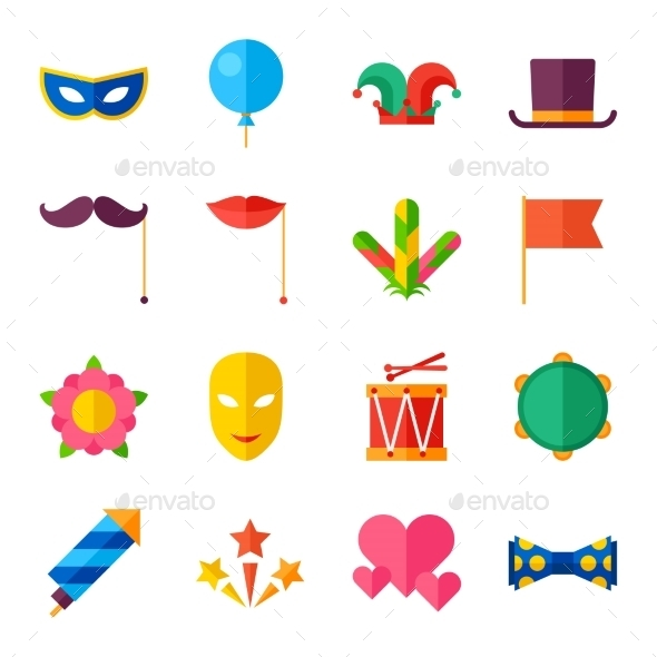 GraphicRiver Celebration Carnival Set of Flat Icons 11612356