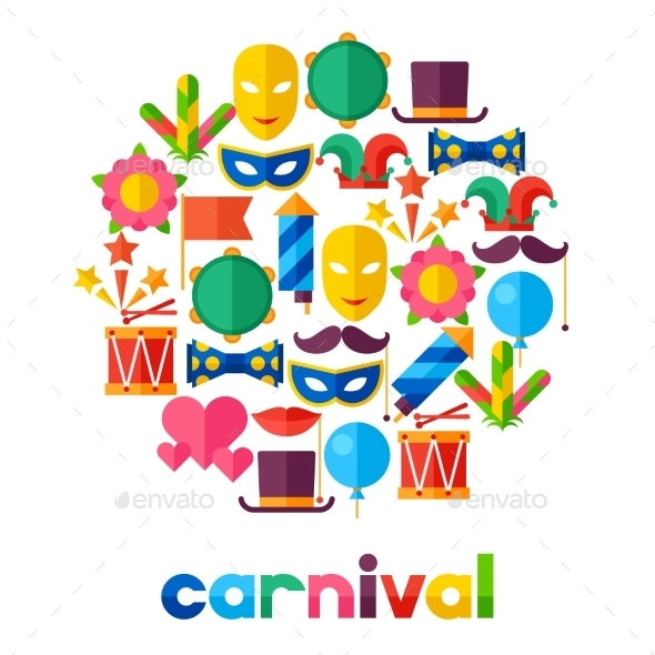 GraphicRiver Celebration Festive Background with Carnival Icons 11612358