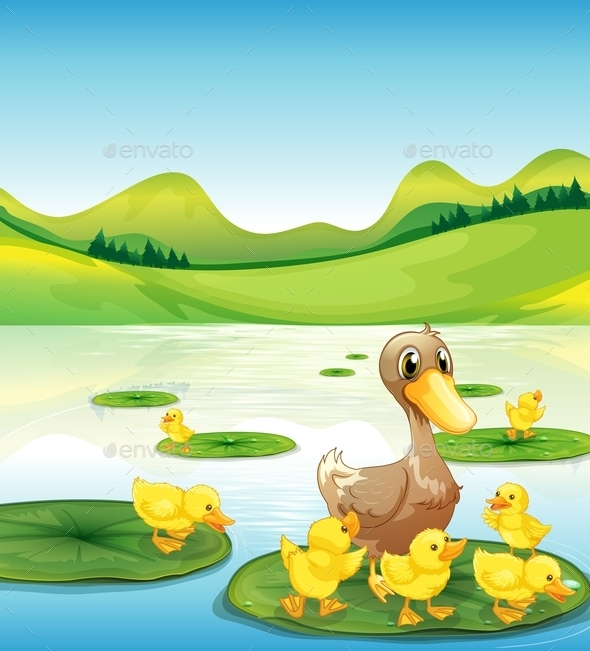 GraphicRiver Duck and Her Ducklings at the Pond 11612540