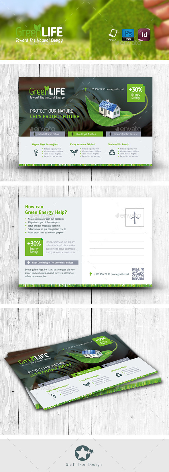 GraphicRiver Green Energy Postcard Templates 11612627