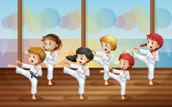 GraphicRiver Kids Practicing Karate 11613086