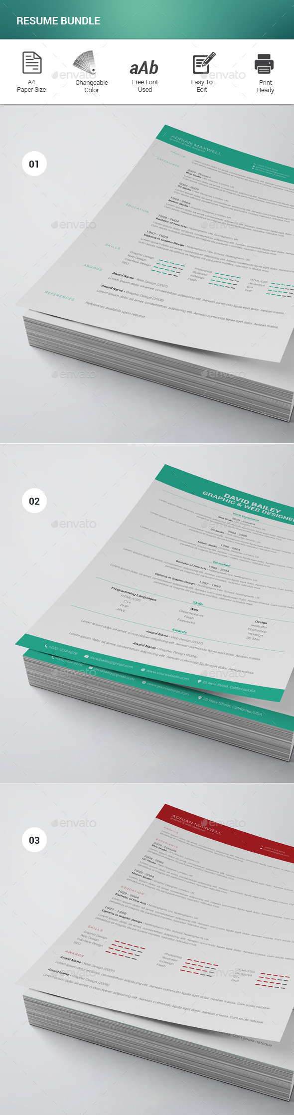 GraphicRiver Resume Bundle 11613119