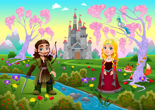 GraphicRiver Medieval Couple in a Landscape with Castle 11613310