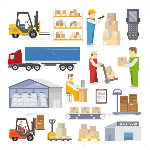 GraphicRiver Warehouse Icons Flat 11613468