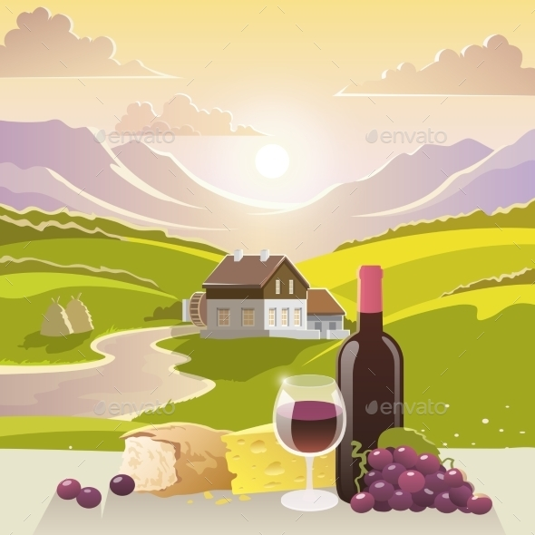 GraphicRiver Mountain Landscape with Wine and Cheese 11613471
