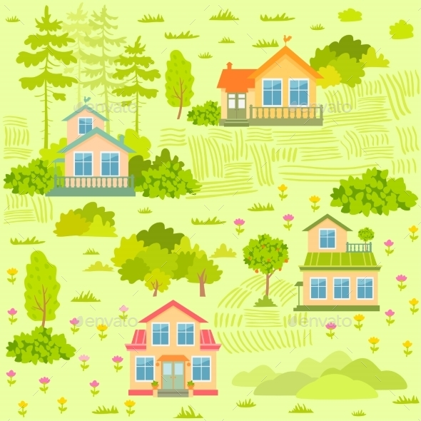 GraphicRiver Houses Seamless 11613684