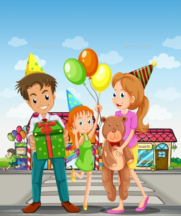 GraphicRiver Happy Family in the Pedestrian Lane 11613697