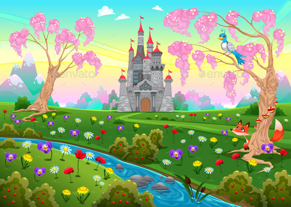 GraphicRiver Fairytale Scenery with Castle 11614140
