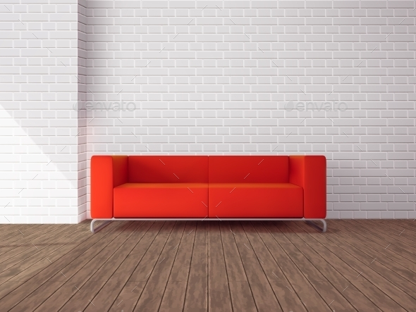 GraphicRiver Red Sofa in Room 11614175