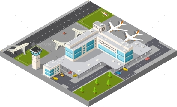 GraphicRiver Isometric City Airport 11614181