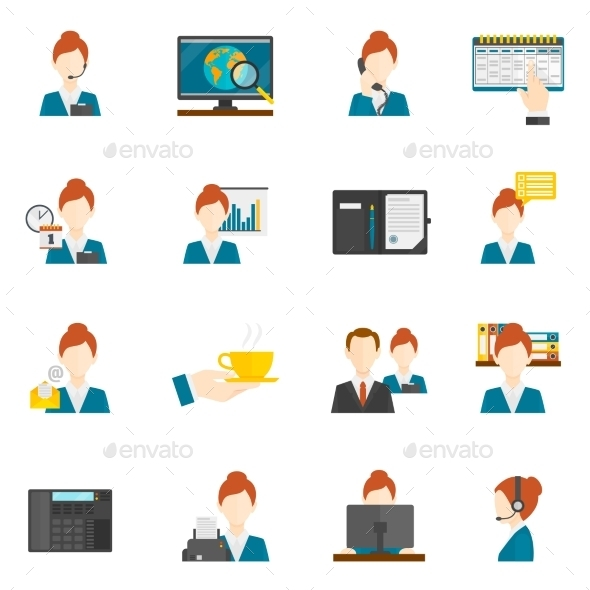 GraphicRiver Personal Assistant Flat Icons 11614269