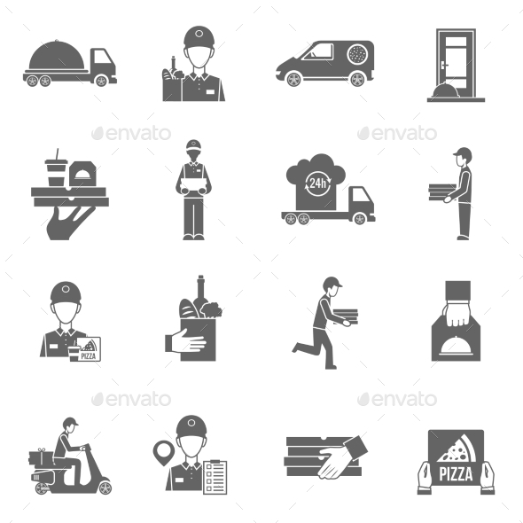 GraphicRiver Food Delivery Courier Black Icons Set 11614274