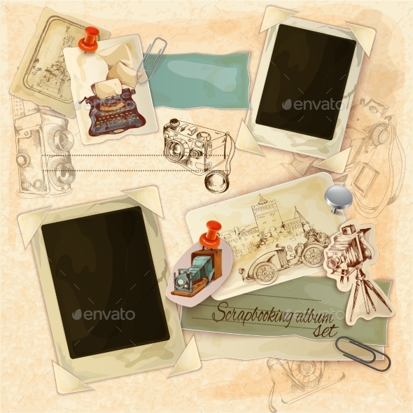 GraphicRiver Retro Scrapbooking Set 11614345