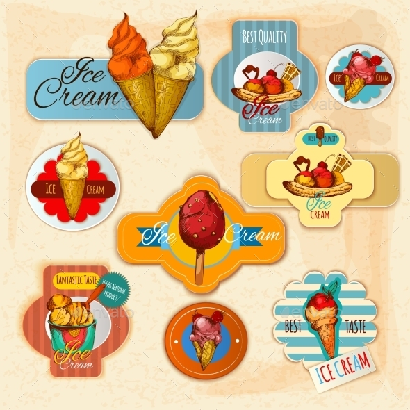 GraphicRiver Ice Cream Labels 11614352