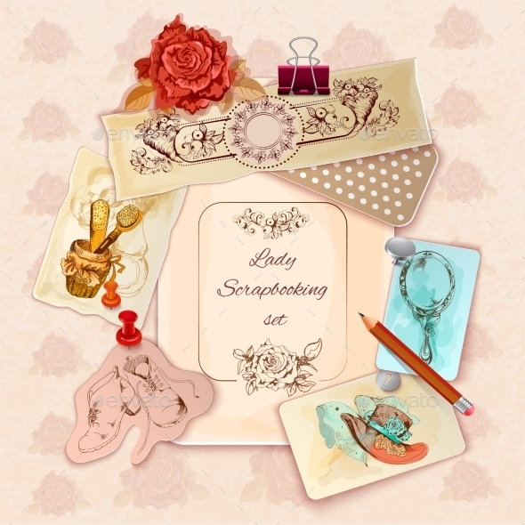 GraphicRiver Ladies Scrapbooking Set 11614364