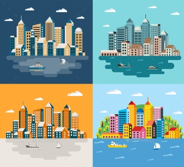 GraphicRiver City Flat Style 11614366