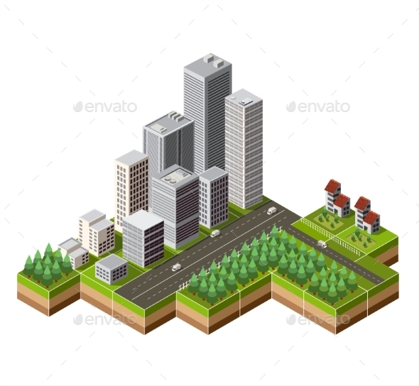 GraphicRiver Isometric City Center 11614512