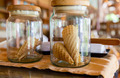 close up of jars with waffle cones at restaurant - PhotoDune Item for Sale