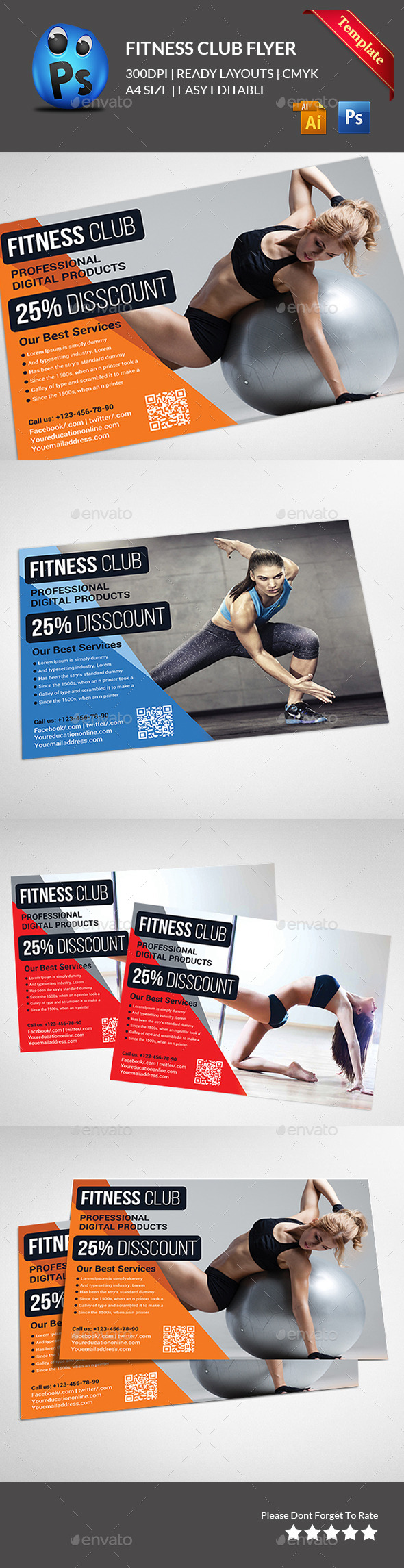 GraphicRiver Fitness Flyer Gym Flyer 11615086