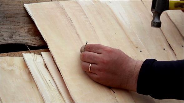 Cedar Wooden Shingle Shake Roofer Wearing Bandaid