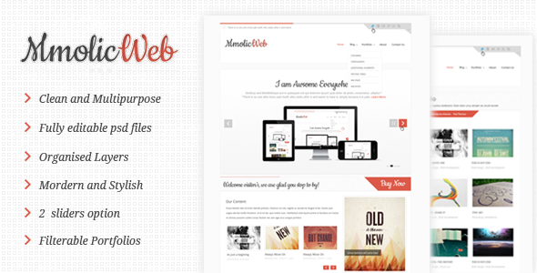 Mmolic web - Creative and Clean  Psd Template  - Creative PSD Templates
