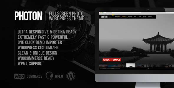 ThemeForest Photon Fullscreen Photography Wordpress Theme 11543656