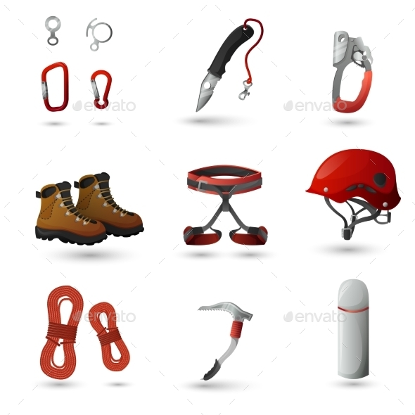 GraphicRiver Mountain Climbing Icons Set 11615447