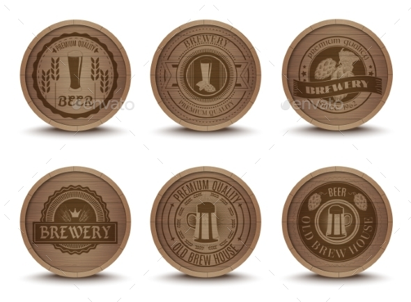 GraphicRiver Wooden Beer Emblems 11615498