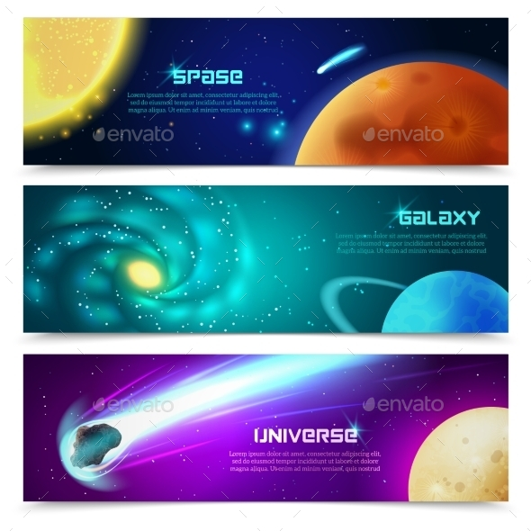 GraphicRiver Cosmos Galaxy Banners Set 11615735