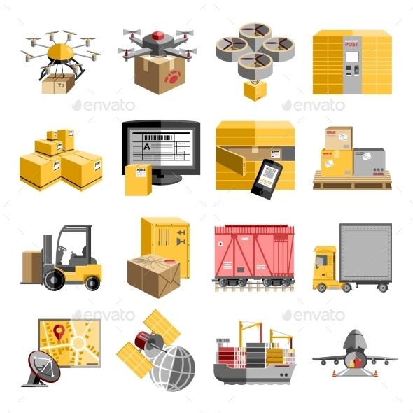 GraphicRiver Logistics Flat Icons Set 11615786