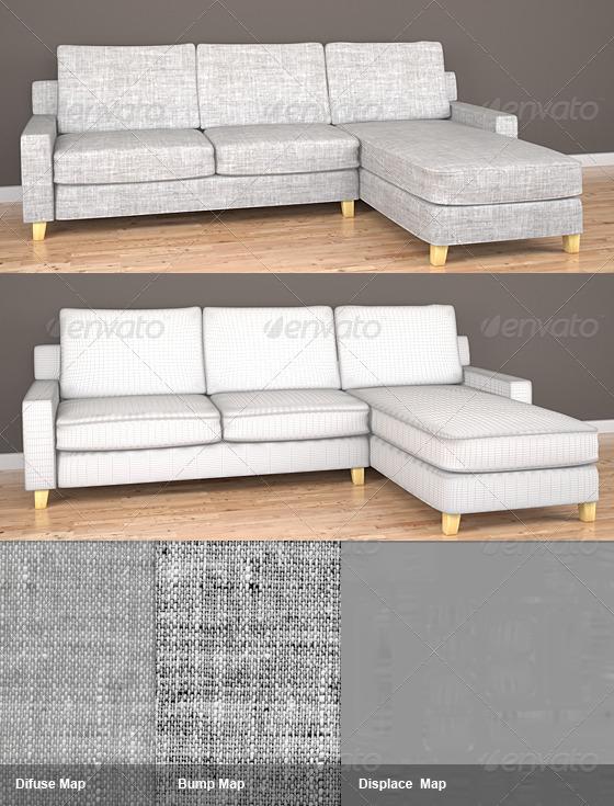 3DOcean Burleigh 3 Seater Fabric Sofa 142022