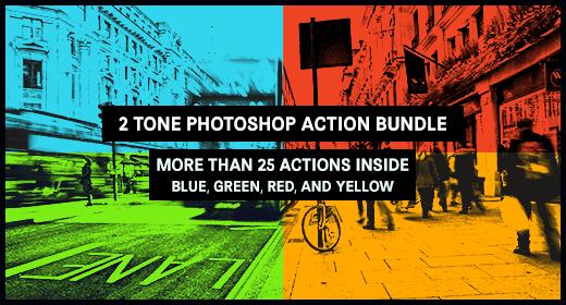 2 Tone Photoshop Action Bundle