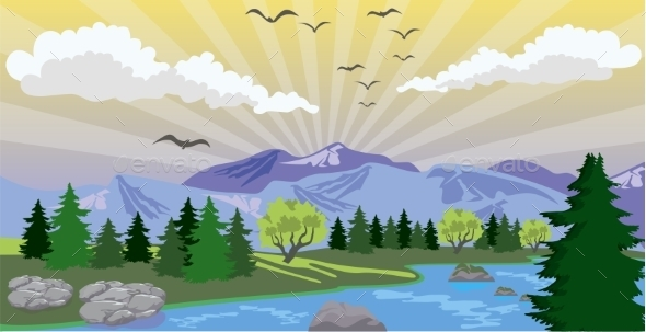 GraphicRiver Landscape with Sunrise and Lake 11616284