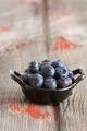 Bowl of fresh ripe autumn blueberries