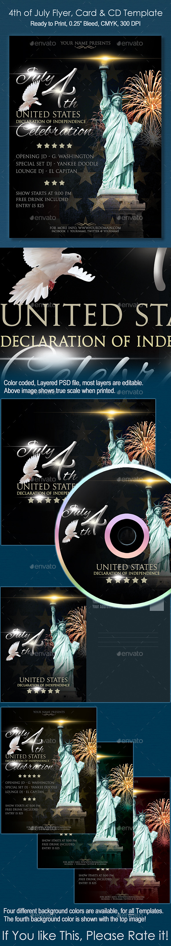 GraphicRiver 4th of July Flyer CD and Card Template 11617073